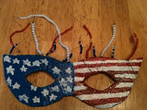 My 13 year old made this awesome 4th of July mask!