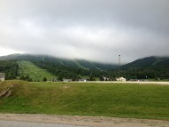 We stayed in a condo on Killington Mountain where we could see the snowless ski slopes covered in clouds