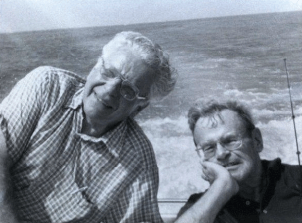 Francis Ware Wright, Jr. (right), better known as Caesar, with his lifelong friend, Bill Hoyer, on the waters of Lake Erie — the place where he once said he felt closest to God.