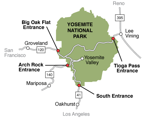 how to get to Yosemite from San Francisco, Los Angeles o Las Vegas map