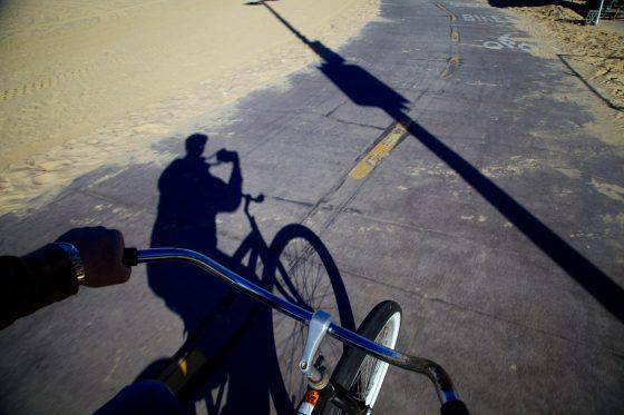Bike riding at Santa Monica beach
