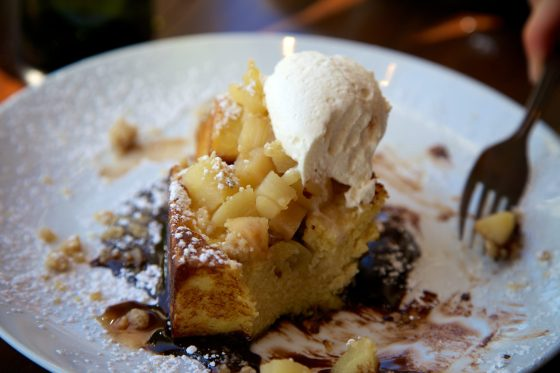 Candied Chestnut Bread Pudding French Toast  cognac whipped cream hot fudge, pear, chesnut and rosemary shortbread