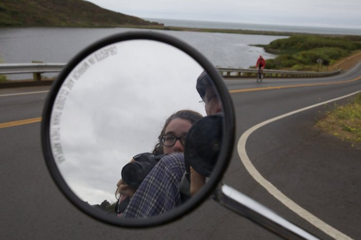 Carissa and I scouting for photo ops from our scooter, Rodeo Beach, Marin Headlands