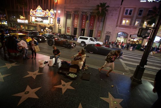 The Hollywood walk of fame, lots of craziness going on here