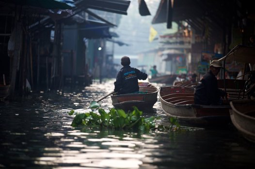 Sunrise at one of Bangkok's floating markets