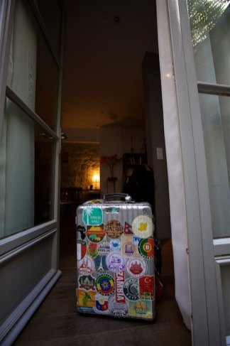 My friend and suitcase earning more stickers...
