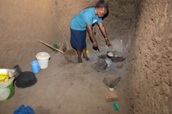 School social worker Ayumi Elizabeth shows me the common cooking methods in this part of Kenya.