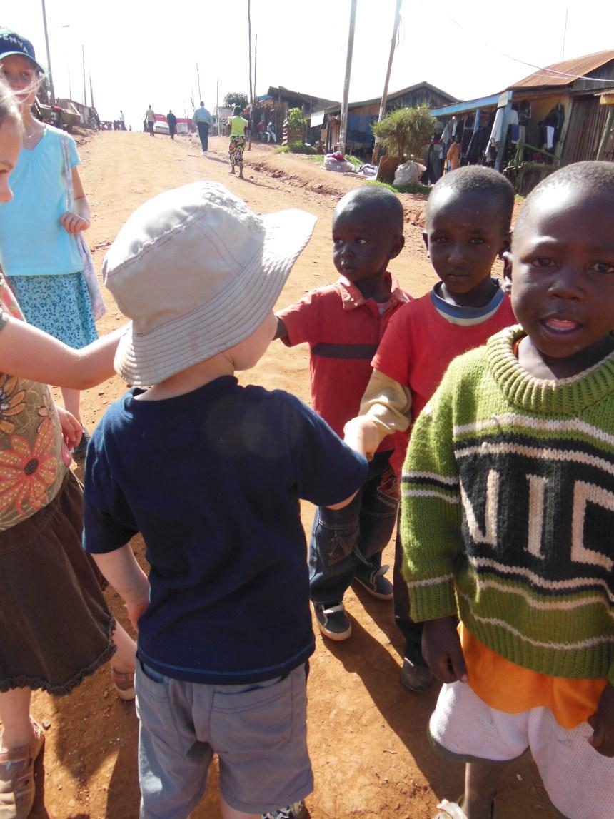 Our kids meeting Kenyan kids