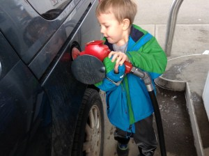 Zach gassing car