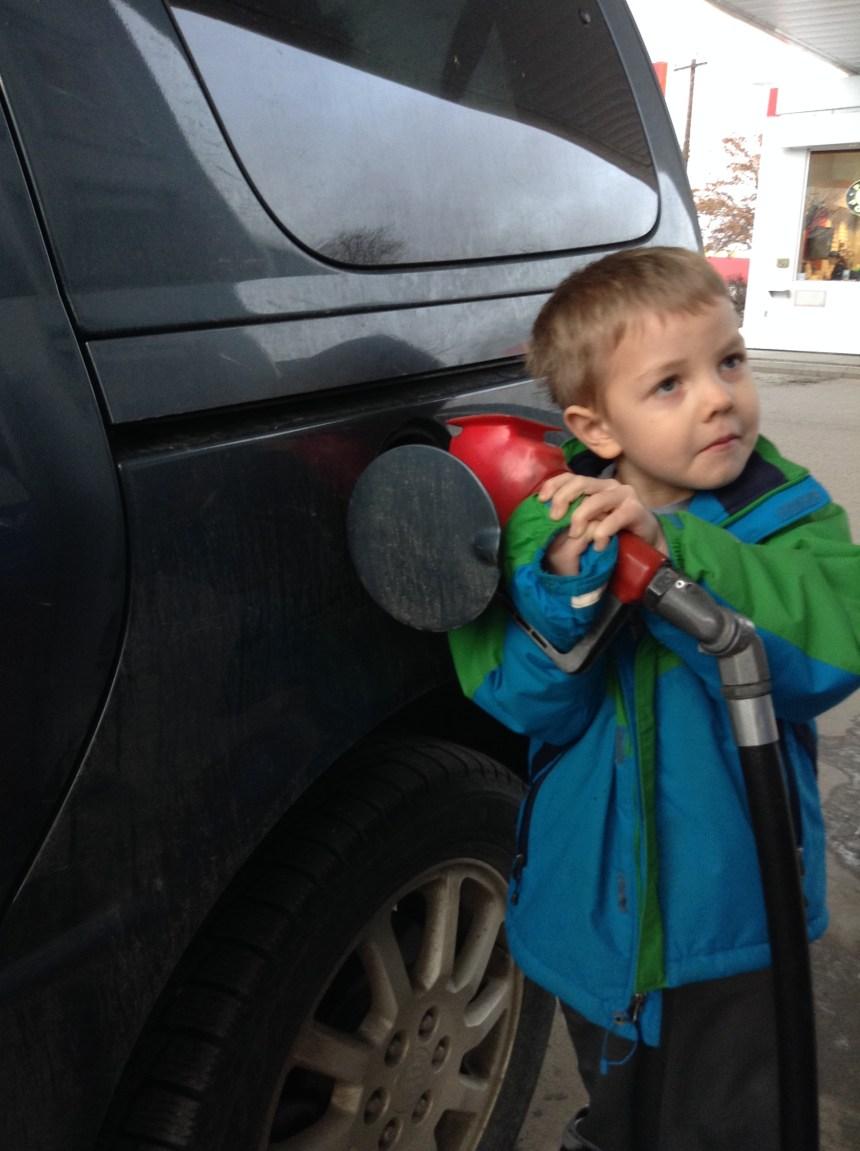 Zach gassing car