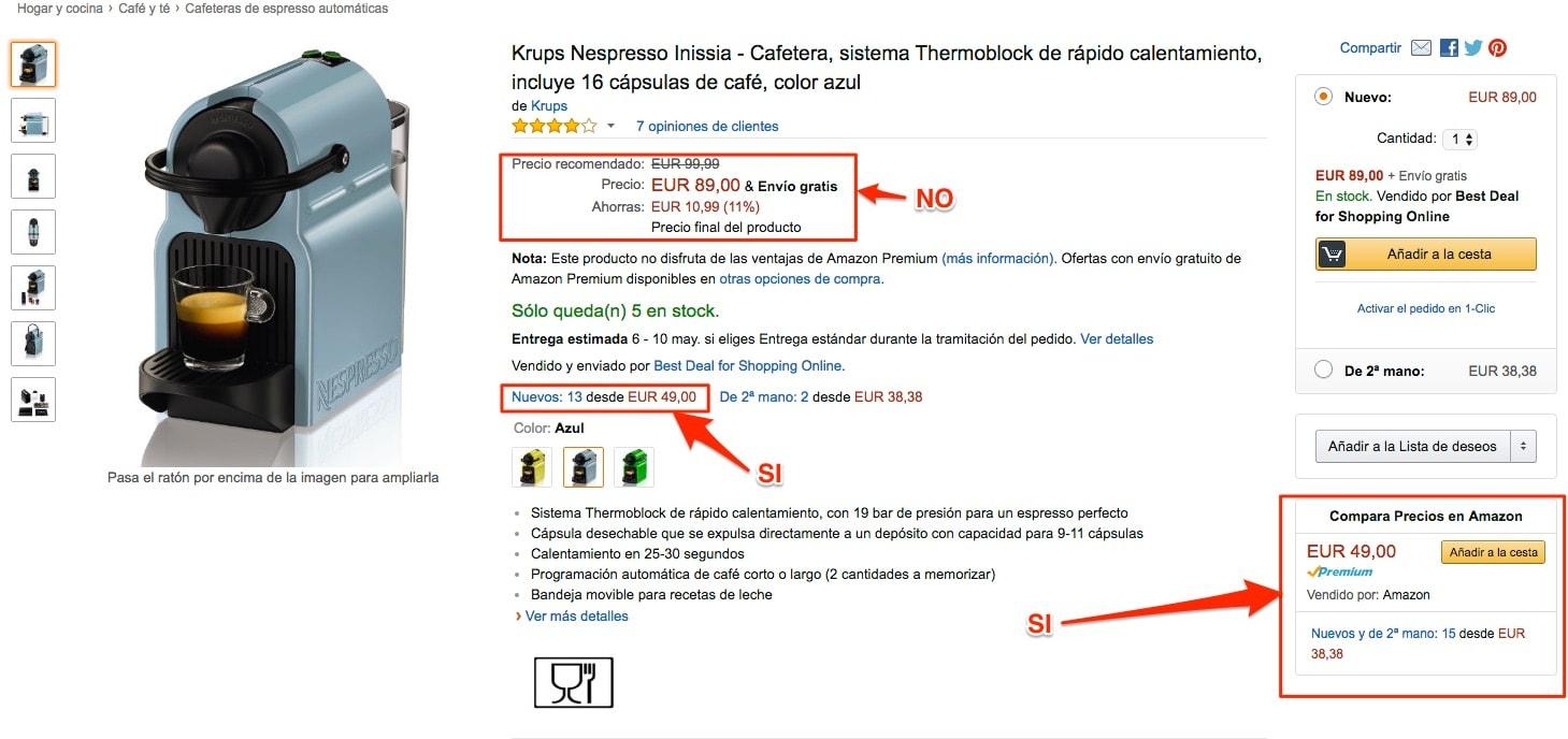 Krups Nespresso Inissia - Cafetera, sistema Thermoblock de rápido calentamiento, incluye 16 cápsulas de café, color azul en oferta