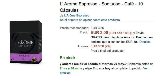 L' Arome Espresso - Sontuoso - Café - 10 Cápsulas en Amazon España