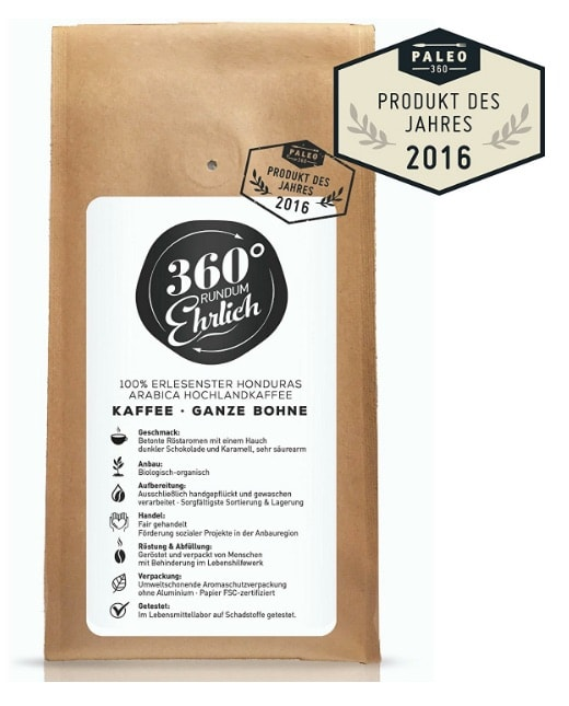 """Café en grano 100% Arábica recomendado por calidad-precio (y sabor): '360 ° Rundum Ehrlich """""""