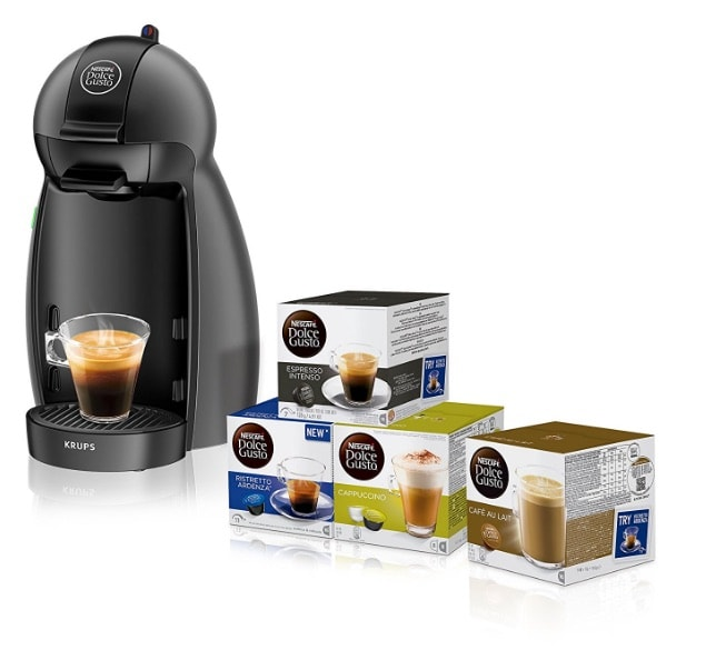 Pack Cafetera Krups Dolce Gusto Piccolo (negro) + 4 packs variados café Dolce Gusto