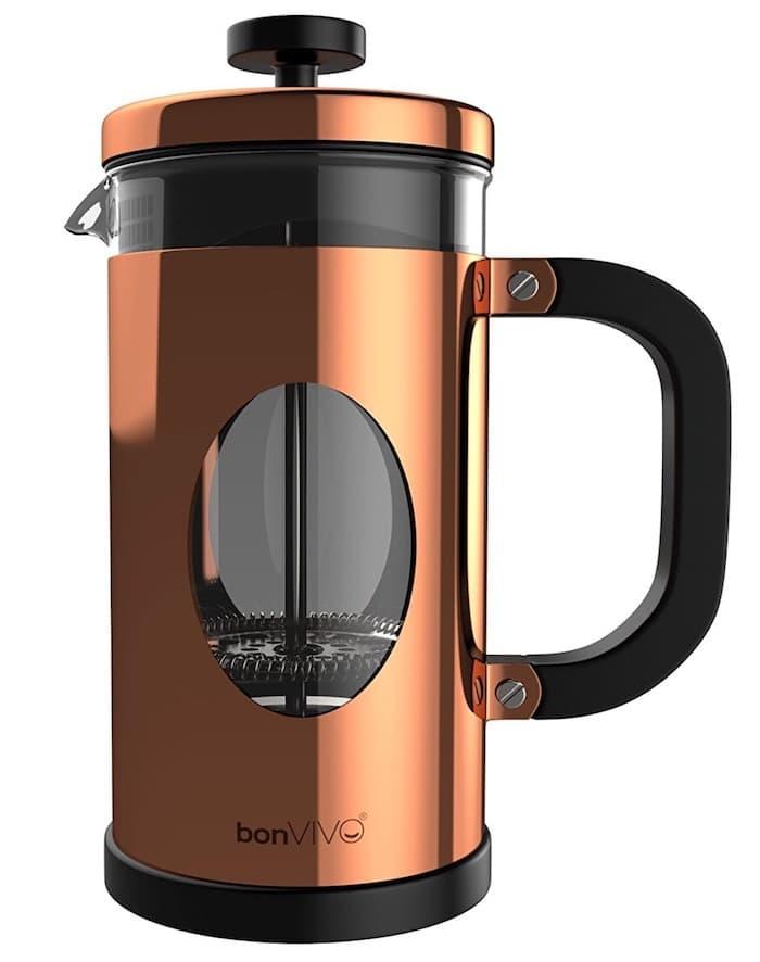 Mención especial por su excelente diseño y fabricación:bonVIVO GAZETARO cafetera prensa francesa