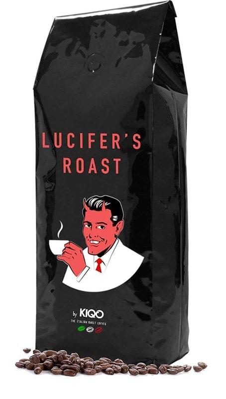 LUCIFER'S ROAST Espresso de KIQO de Italia - 1kg café extremadamente fuerte - bajo en ácido - 100% Robusta