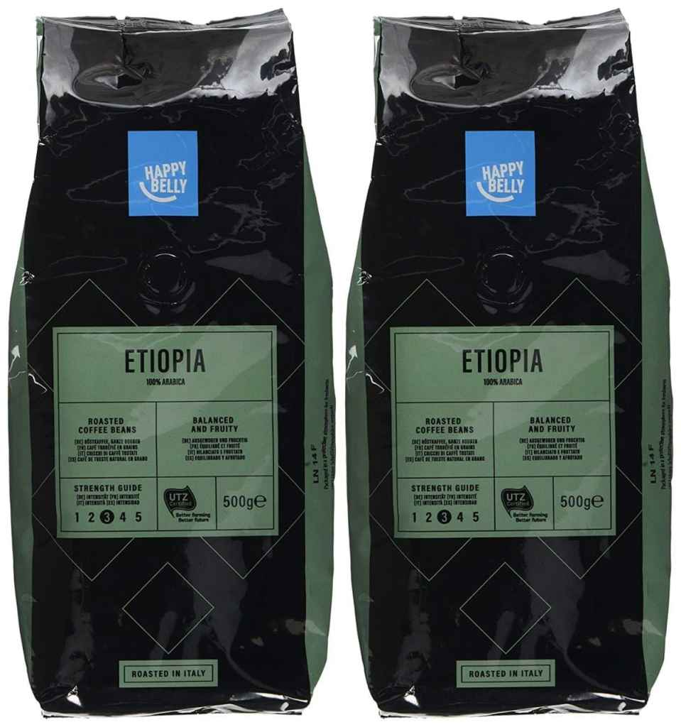 "Marca Amazon - Happy Belly Café de tueste natural en grano ""ETIOPIA"" (2 x 500g)"