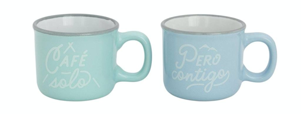 """Mr. Wonderful - Set de 2 tazas espresso con mensaje """"Café solo, pero contigo"""""""