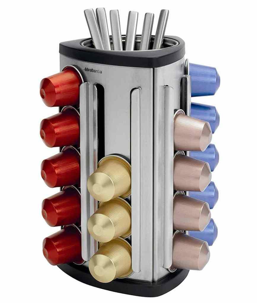 dispensador de cápsulas de Brabantia con recipiente para cucharas
