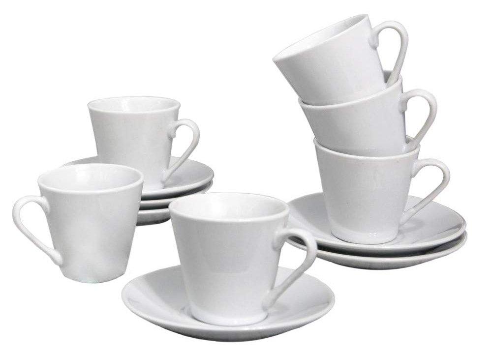 Juego de Café Barista Classic (6 Tazas y 6 Platos de porcelana blanca)