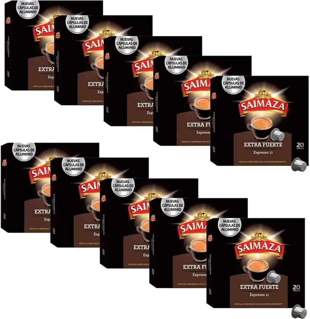 Saimaza Café Extra Fuerte Espresso 11 - 200 cápsulas de aluminio compatibles con máquinas Nespresso