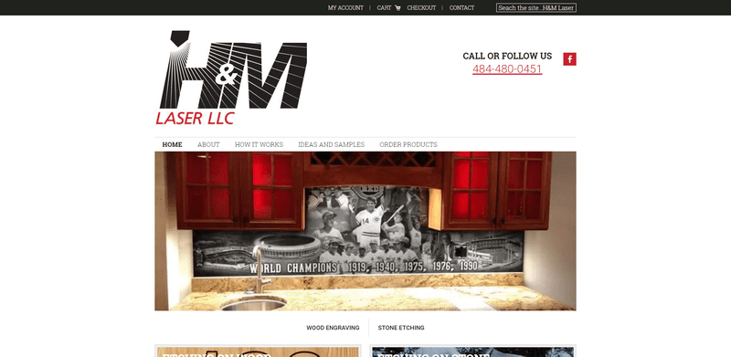 Above the fold view of HMLASERLLC.com website