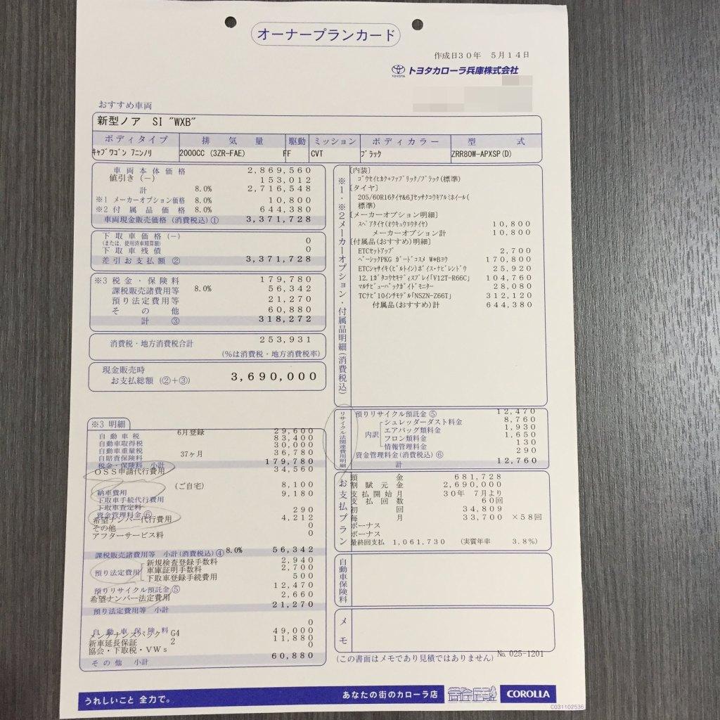 ノア新車見積書(商談メモ)