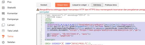 cara memasang kode google analytic di blogspot langsung di template