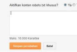 Cara Setting robot txt dan Header Robot di Blogspot
