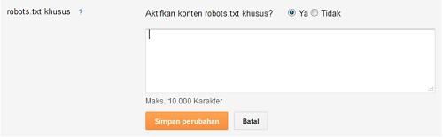 Cara Setting robot.txt dan Header Robot di Blogspot