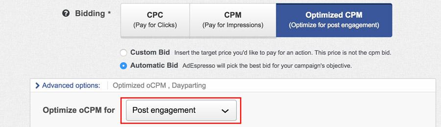 CPM Otimize facebook ads