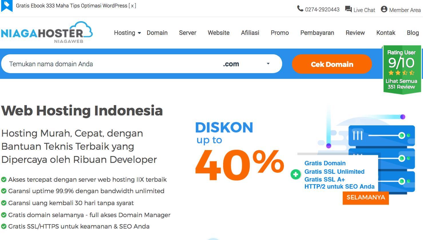 layanan jasa web hosting terbaik niagahoster