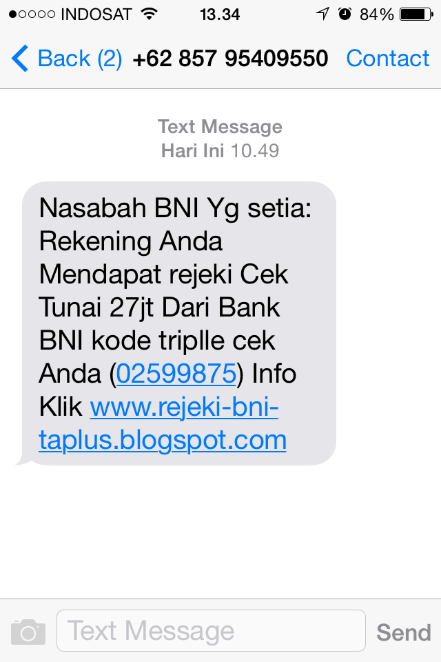 Sms Penipuan bank