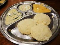 My long-awaited idli which sadly did not live up to my hopes. They were very kind and made me a fresh plate - even remembering my cheeky order of double coconut chutney, as you can see here - but it still wasn't hugely impressive.