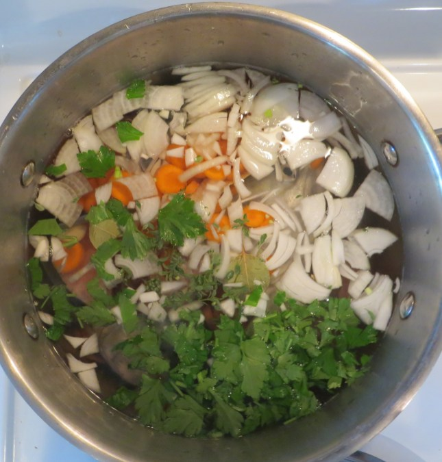 Always start soups with fresh organic vegetables