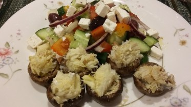 Crab stuffed mushrooms & Greek salad