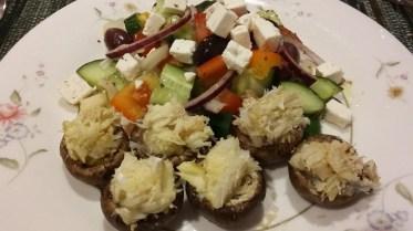 Crab stuffed mushrooms & Greek salad