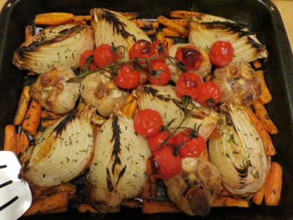 Roast onions, tomatoes are delicious