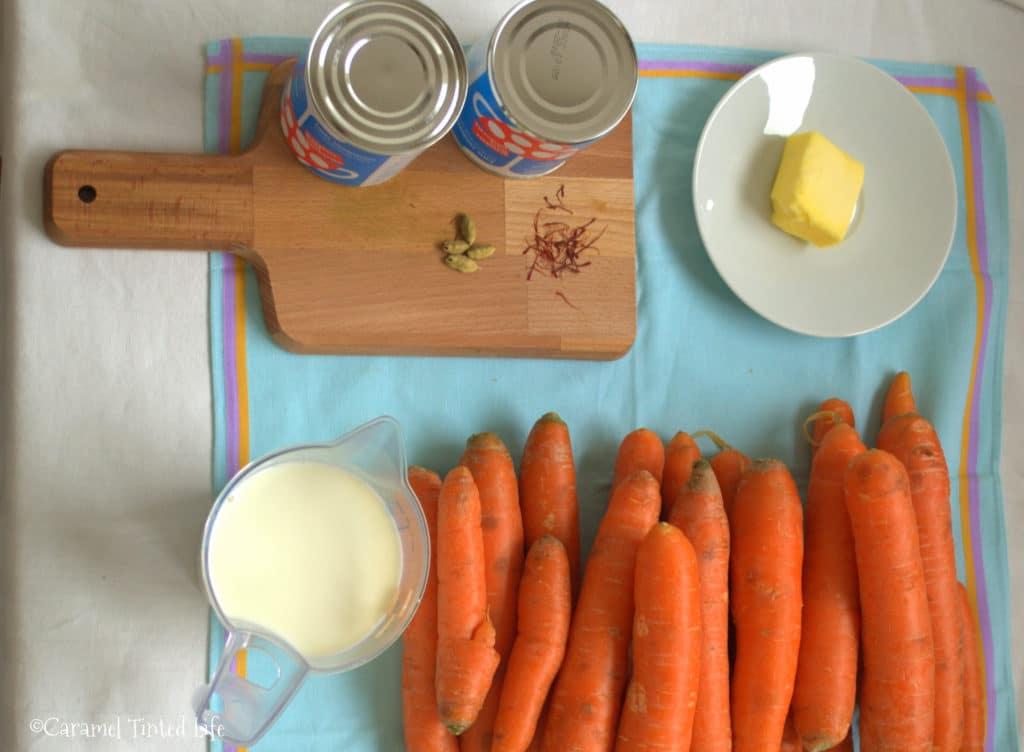 ingredients for gajar halwa