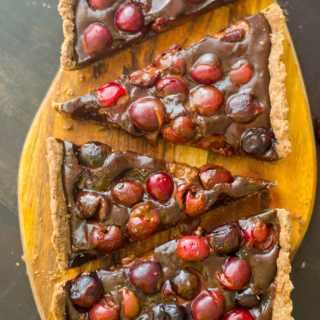 Soft chocolate and cherry tart