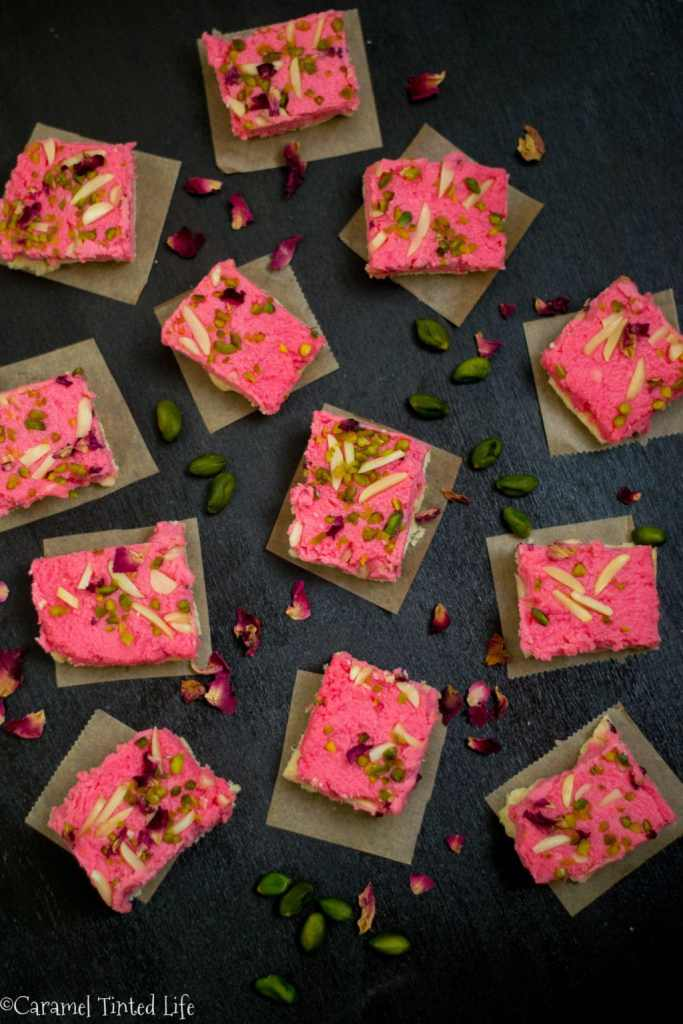 Rose Kalakand with Cardamom Shortbread