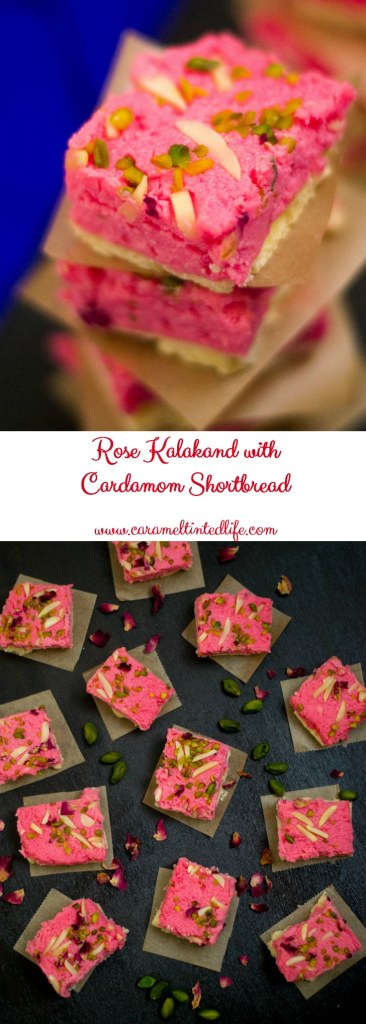 Rose Kalakand with ricotta cheese