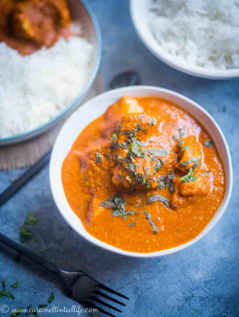 Instant Pot Chicken Tikka Masala in a bowl with rice