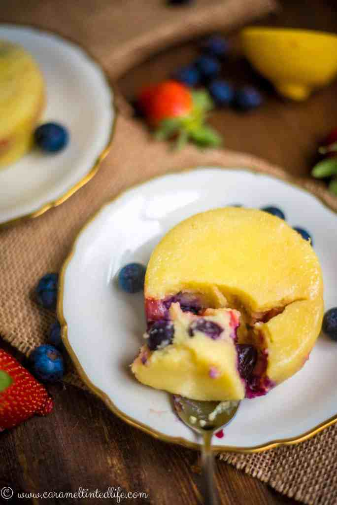 Instant Pot Lemon Berry Pudding cut with spoon
