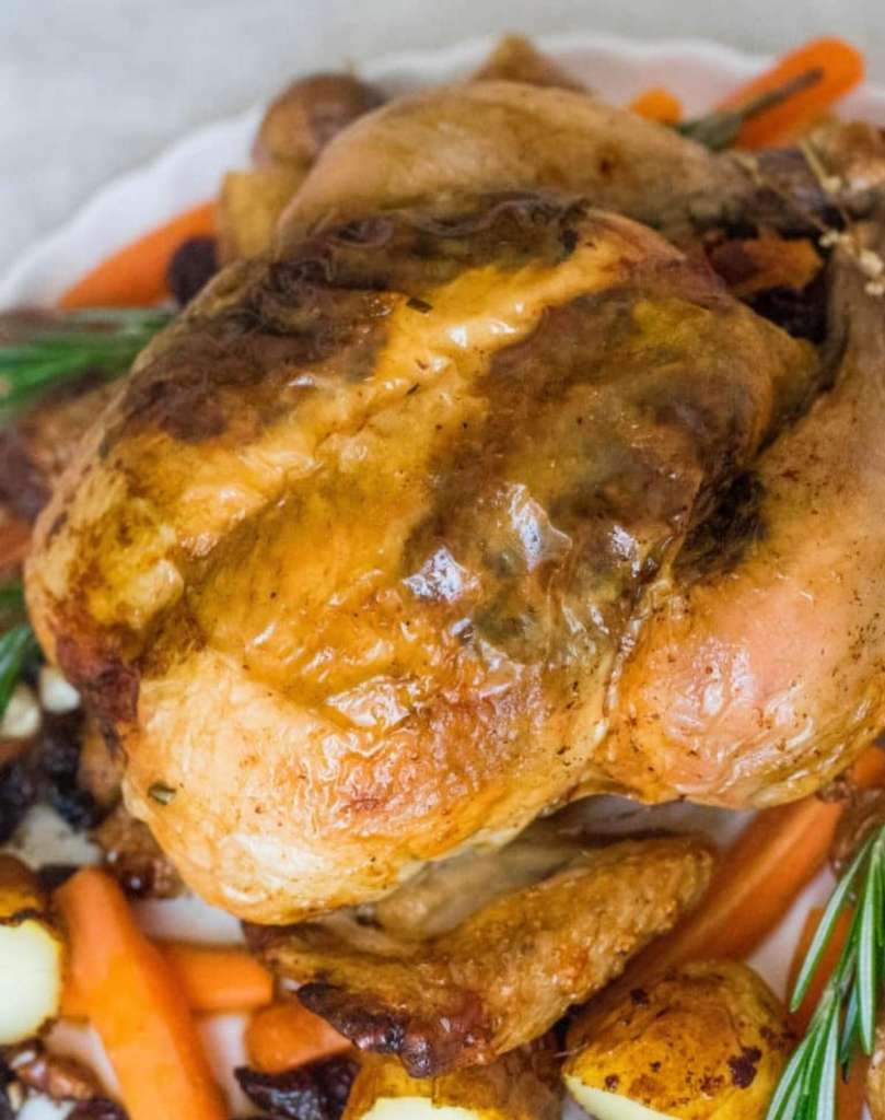 Roast Chicken with Herbs and Spices served on a platter