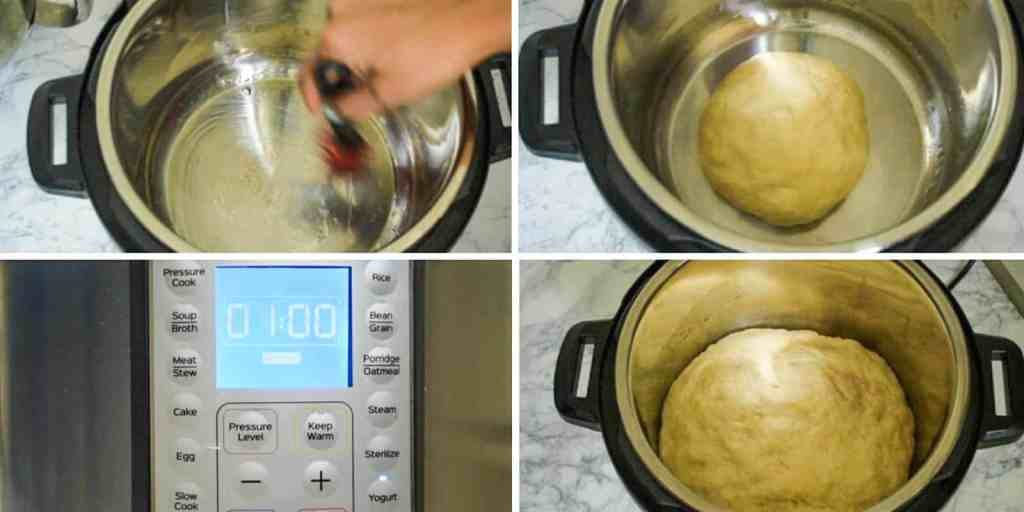 Step by step process of proofing naan bread in an Instant Pot