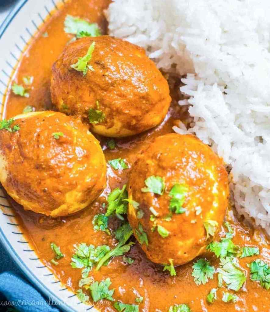 Close-up of egg curry and rice