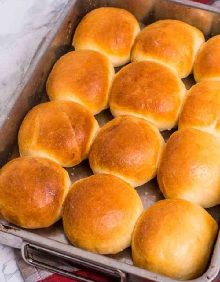 Pav bread baked and served on a baking dish