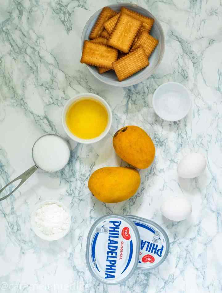 Mango cheesecake ingredients