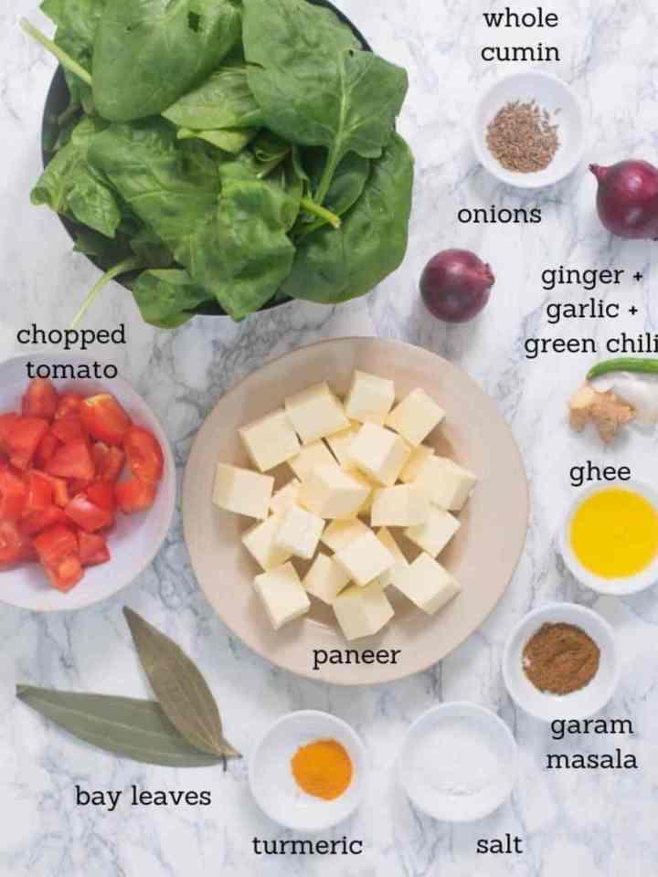 Ingredients used for making saag paneer